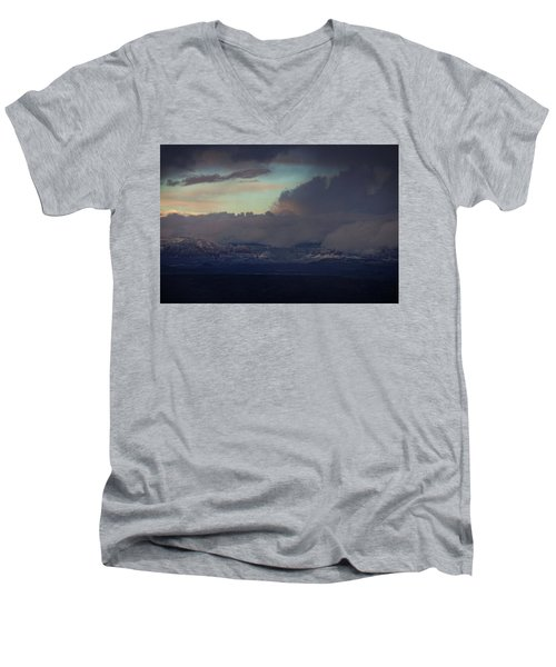 Men's V-Neck T-Shirt featuring the photograph Sedona At Sunset With Red Rock Snow by Ron Chilston