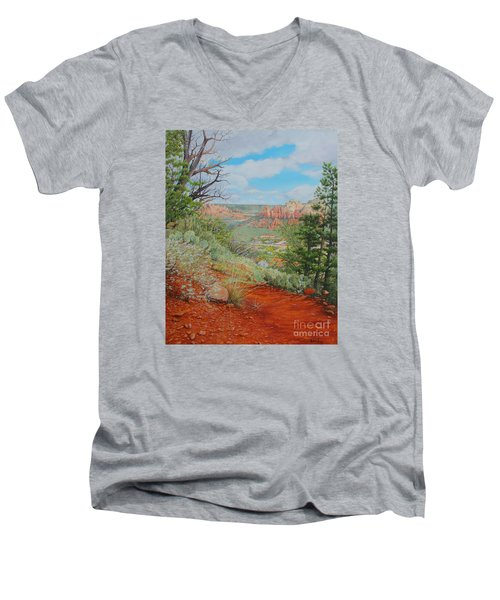 Men's V-Neck T-Shirt featuring the painting Sedona Trail by Mike Ivey