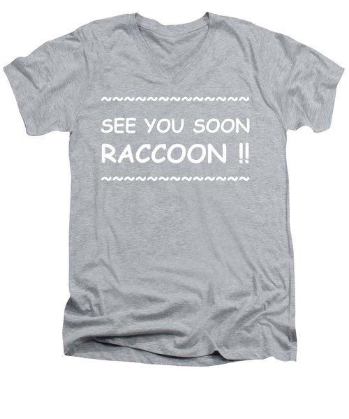 See You Soon Raccoon Men's V-Neck T-Shirt by Michelle Saraswati