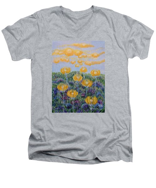 Men's V-Neck T-Shirt featuring the painting Seeing Through by Holly Carmichael