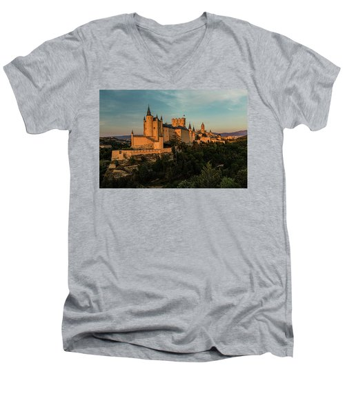 Segovia Alcazar And Cathedral Golden Hour Men's V-Neck T-Shirt