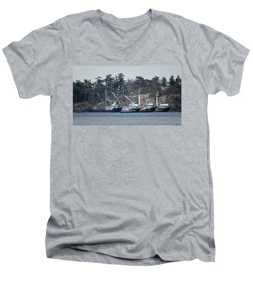 Men's V-Neck T-Shirt featuring the photograph Seiners In Nw Bay by Randy Hall