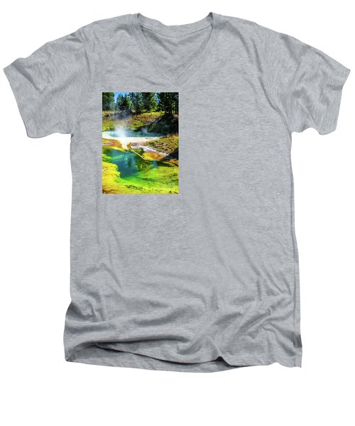 Seismograph Pool In Yellowstone Men's V-Neck T-Shirt