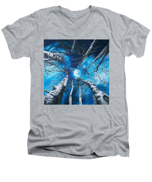 Men's V-Neck T-Shirt featuring the painting Selenophilia by Sharon Duguay