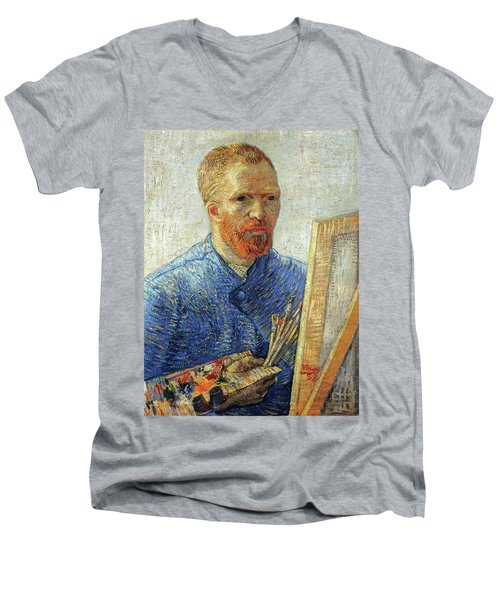 Men's V-Neck T-Shirt featuring the painting Self Portrait As An Artist by Van Gogh