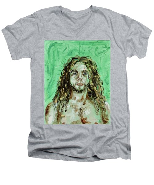 Self Portrait -with Emerald Green And Mummy Brown- Men's V-Neck T-Shirt