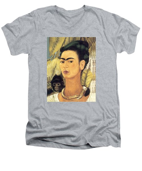 Self Portrait With Monkey  Men's V-Neck T-Shirt