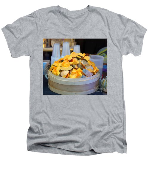 Men's V-Neck T-Shirt featuring the photograph Selling Fresh Pumpkin Shakes by Yali Shi