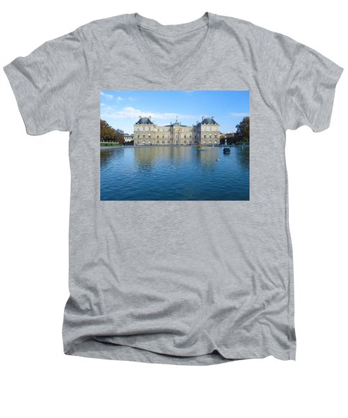 Men's V-Neck T-Shirt featuring the photograph Senat From Jardin Du Luxembourg by Christopher Kirby