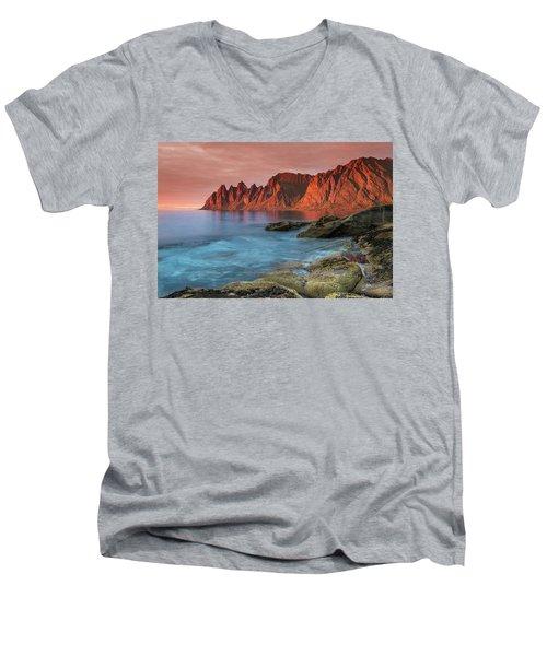 Senja Red Men's V-Neck T-Shirt by Alex Conu