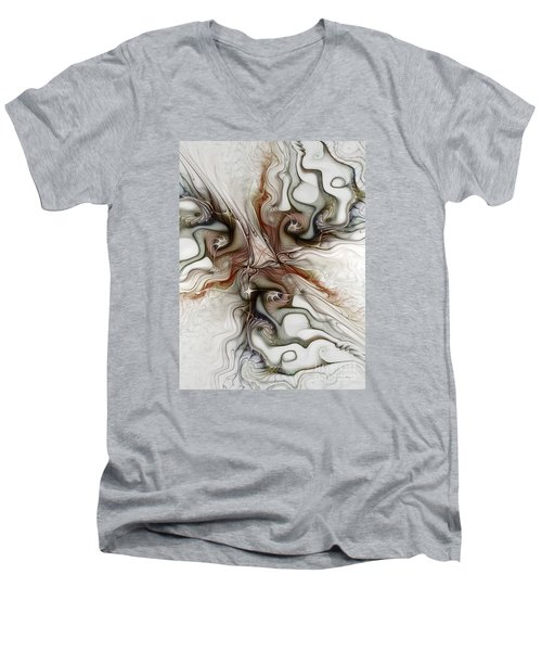 Men's V-Neck T-Shirt featuring the digital art Sensuality by Karin Kuhlmann