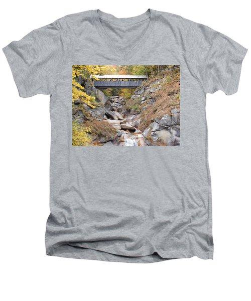 Sentinel Pine Covered Bridge Men's V-Neck T-Shirt by Catherine Gagne