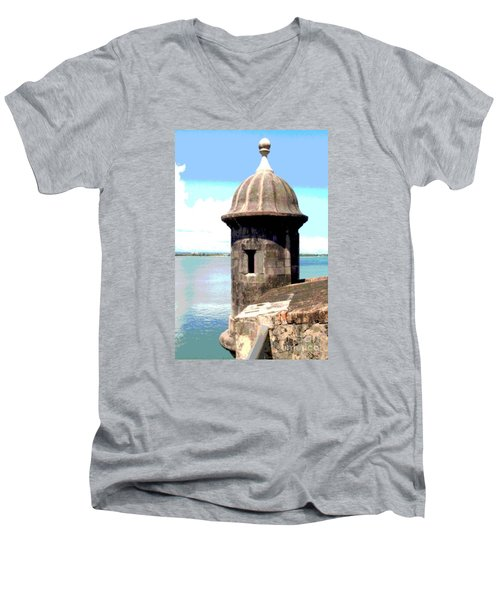 Men's V-Neck T-Shirt featuring the photograph Sentry Box In El Morro by The Art of Alice Terrill