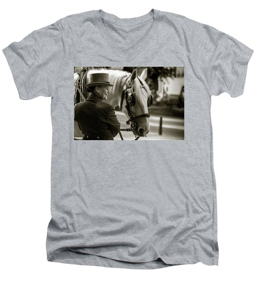 Sepia Carriage Horse With Handler Men's V-Neck T-Shirt