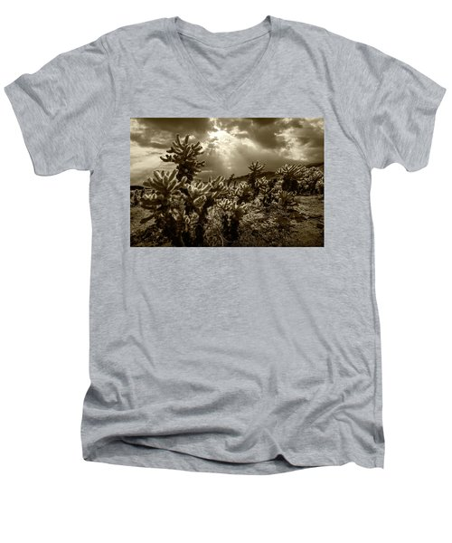 Men's V-Neck T-Shirt featuring the photograph Sepia Tone Of Cholla Cactus Garden Bathed In Sunlight by Randall Nyhof