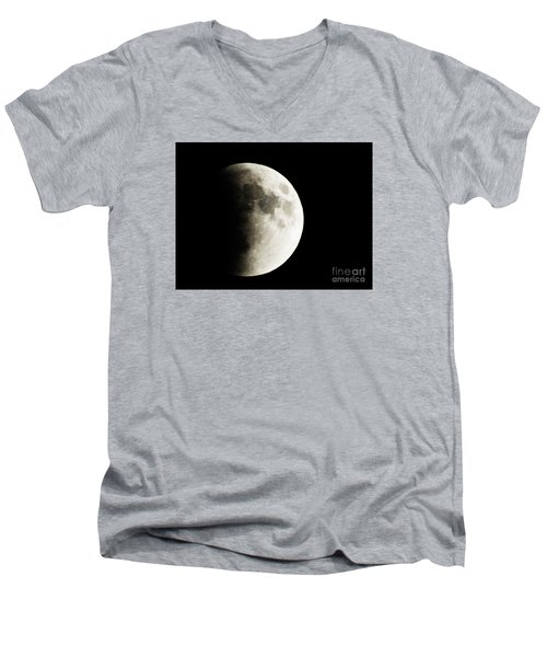 Men's V-Neck T-Shirt featuring the photograph September 27,2015 Moon Eclipse  by J L Zarek