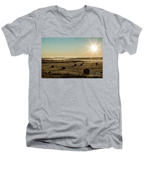 Men's V-Neck T-Shirt featuring the photograph September Hay by Brad Allen Fine Art