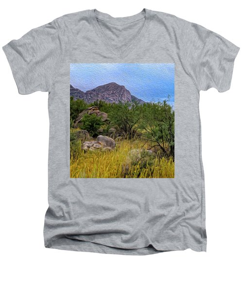 Men's V-Neck T-Shirt featuring the photograph September Oasis No.2 by Mark Myhaver