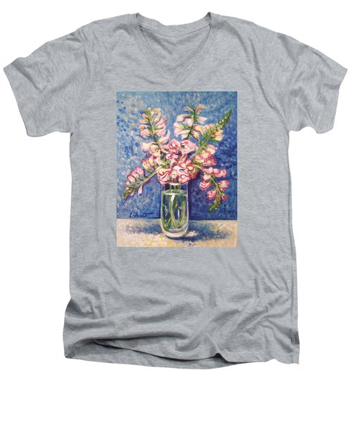 Men's V-Neck T-Shirt featuring the painting September Snaps by Laura Aceto