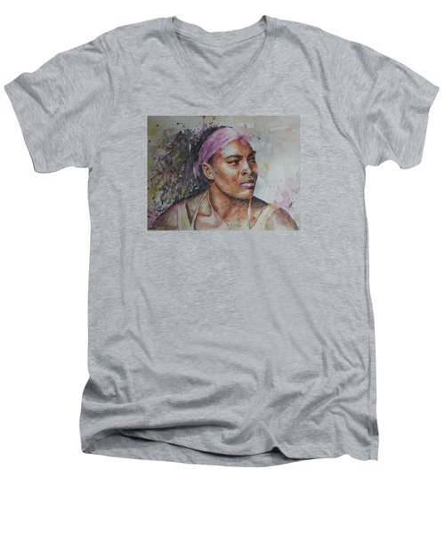 Serena Williams - Portrait 6 Men's V-Neck T-Shirt