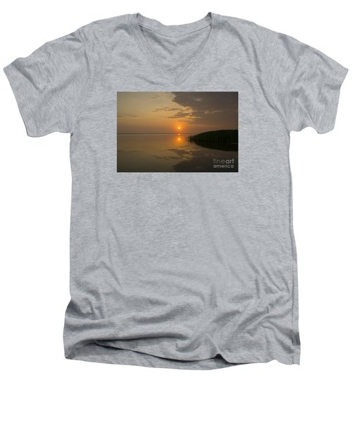 Men's V-Neck T-Shirt featuring the photograph Serene Evening by Inge Riis McDonald