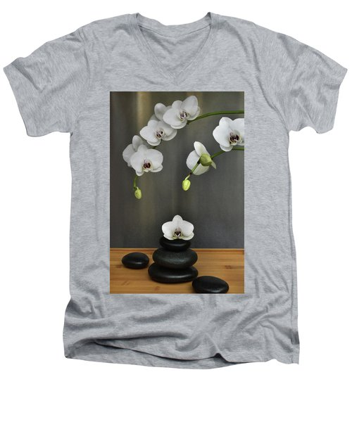 Men's V-Neck T-Shirt featuring the photograph Serene Orchid by Terence Davis