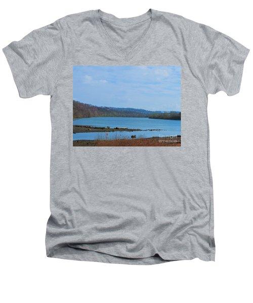 Serene River Landscape Men's V-Neck T-Shirt