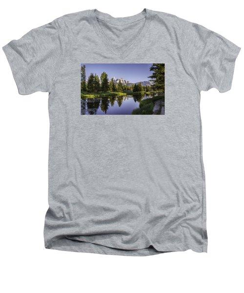 Serene Schwabachers Men's V-Neck T-Shirt by Mary Angelini