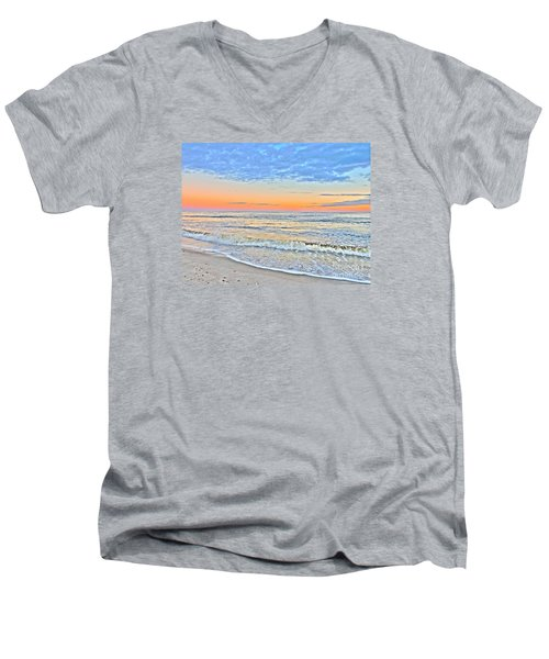 Men's V-Neck T-Shirt featuring the photograph Serene Sunset by Shelia Kempf