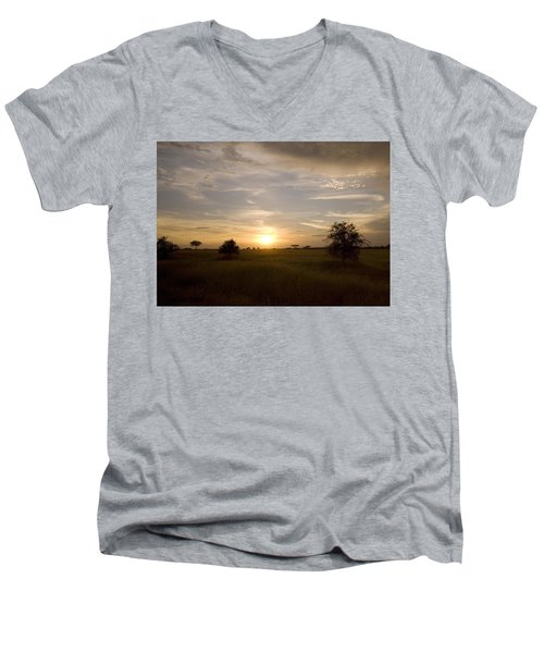 Serengeti Sunset Men's V-Neck T-Shirt by Patrick Kain