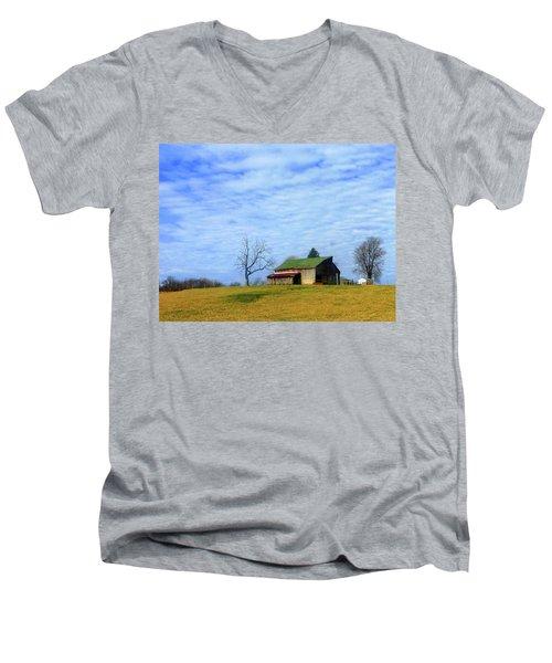 Serenity Barn And Blue Skies Men's V-Neck T-Shirt by Tina M Wenger