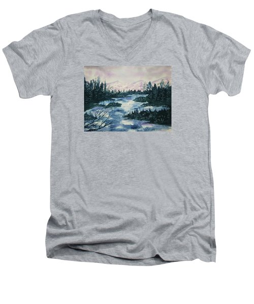 Men's V-Neck T-Shirt featuring the painting Serenity IIi by Ellen Levinson