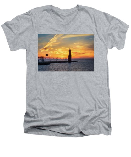Men's V-Neck T-Shirt featuring the photograph Serious Sunrise by Bill Pevlor