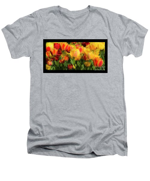 Men's V-Neck T-Shirt featuring the photograph Seriously Spring - Bordered by Wendy Wilton