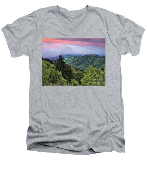Setting Sun Over The Smokey Mountains Men's V-Neck T-Shirt