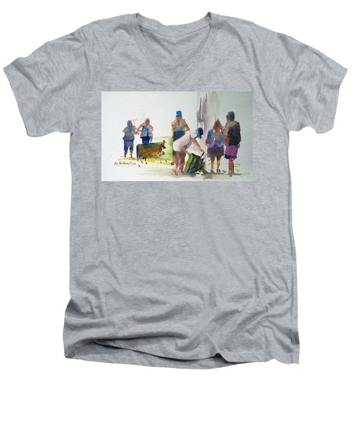 Setting Up Men's V-Neck T-Shirt by P Anthony Visco