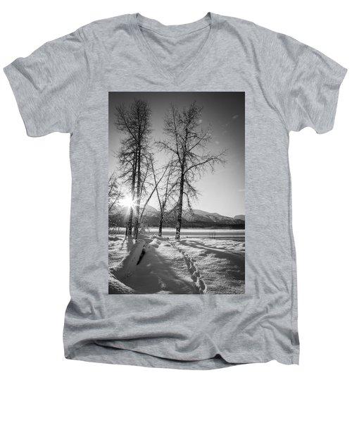 Setting Winter Sun Men's V-Neck T-Shirt by Michele Cornelius