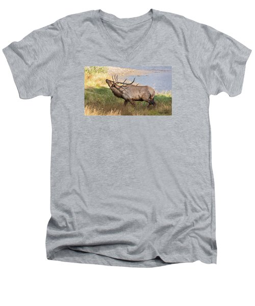 Men's V-Neck T-Shirt featuring the photograph Seven Point Elk Bugling by Stephen  Johnson