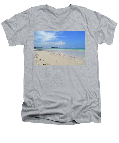 Men's V-Neck T-Shirt featuring the digital art Seychelles Islands 4 by Eva Kaufman