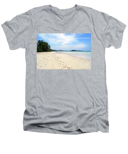 Men's V-Neck T-Shirt featuring the digital art Seychelles Islands 5 by Eva Kaufman