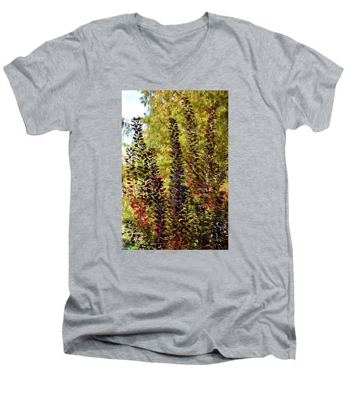 Men's V-Neck T-Shirt featuring the photograph Shades Of Fall by Deborah  Crew-Johnson