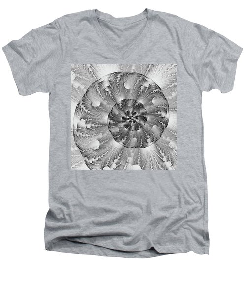 Men's V-Neck T-Shirt featuring the digital art Shades Of Silver by Lea Wiggins