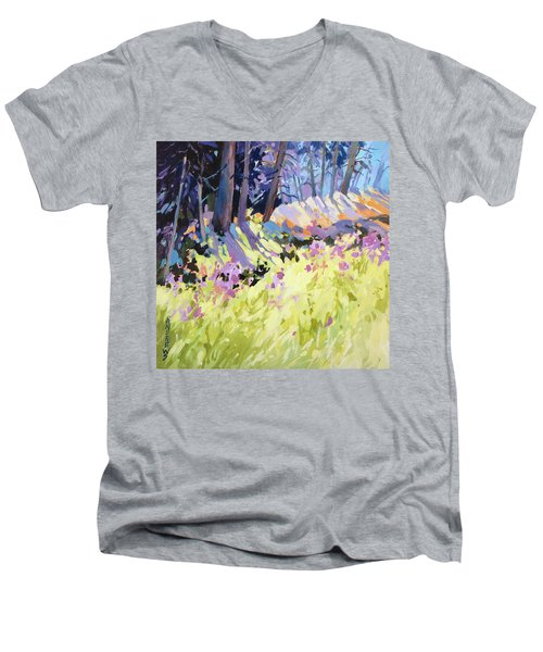 Men's V-Neck T-Shirt featuring the painting Shadow Dance Alaska by Rae Andrews