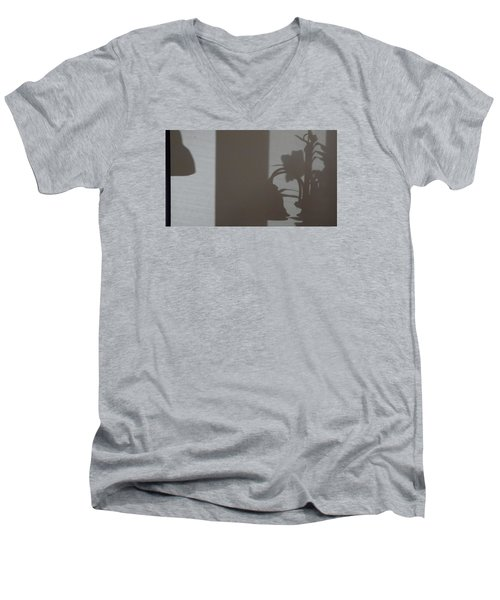 Men's V-Neck T-Shirt featuring the mixed media Shadow Panel 1 by Don Koester