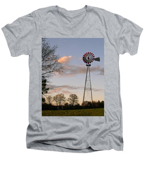 Men's V-Neck T-Shirt featuring the photograph Shadows Fall  by Bonnie Willis