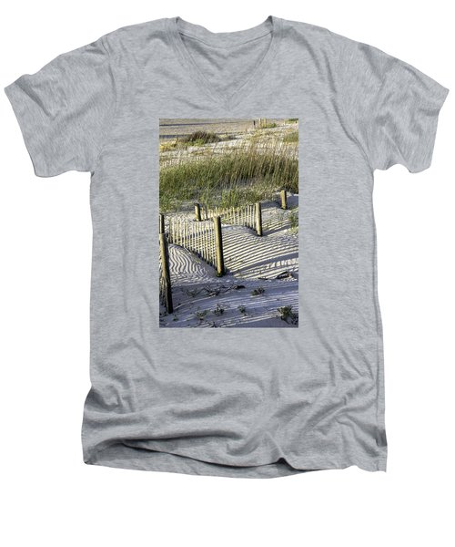 Shadows On The Dune Men's V-Neck T-Shirt by Elizabeth Eldridge