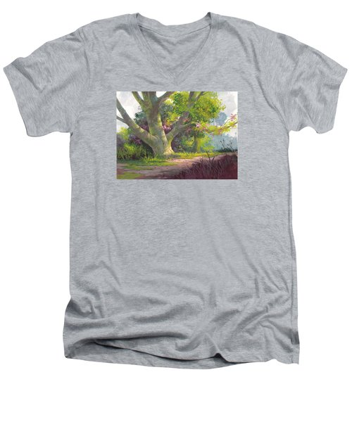 Men's V-Neck T-Shirt featuring the painting Shady Oasis by Michael Humphries