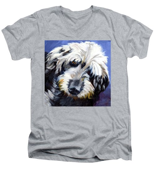 Shaggy Dog Portrait Men's V-Neck T-Shirt by Alice Leggett