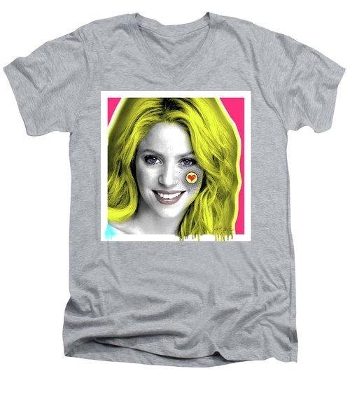 Shakira, Pop Art, Pop Art, Portrait, Contemporary Art On Canvas, Famous Celebrities Men's V-Neck T-Shirt by Dr Eight Love