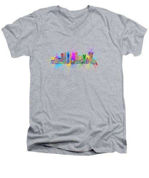 Shanghai Skyline Paint Splatter Illustration Men's V-Neck T-Shirt